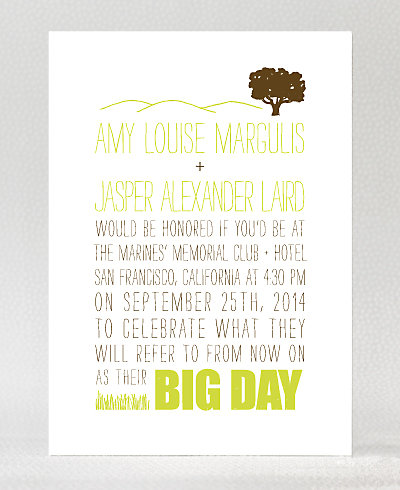 Big Day Oak Letterpress Wedding Invitation