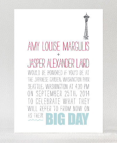 Big Day Seattle Letterpress Wedding Invitation