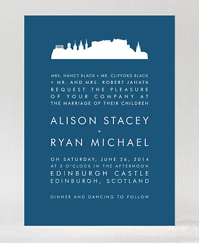 Edinburgh Skyline Wedding Invitation