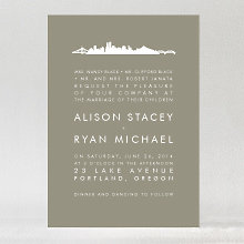 Portland Skyline: Wedding Invitation