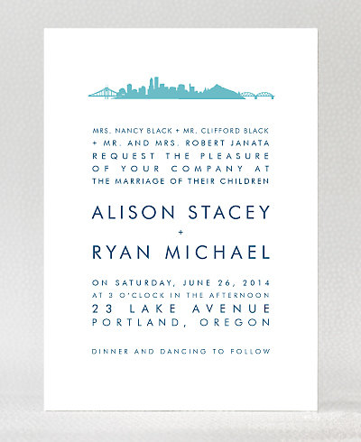 Portland Skyline Wedding Invitation