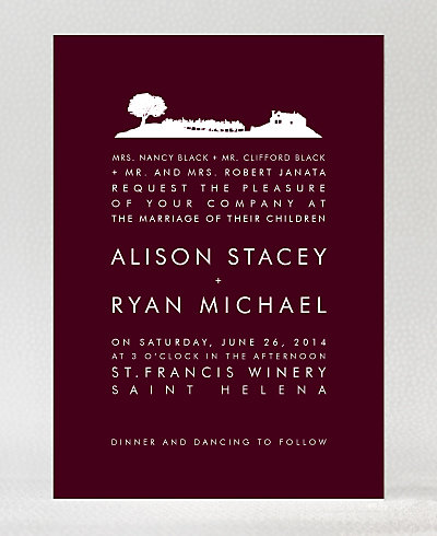 Wine Country Skyline Wedding Invitation