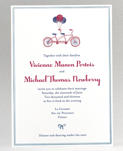 French Bicycle Wedding Invitation