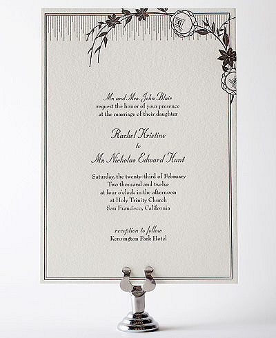 French Deco Letterpress Wedding Invitation