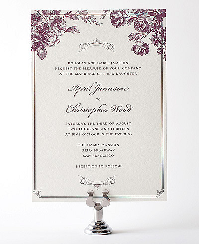 Gothic Rose Letterpress Wedding Invitation