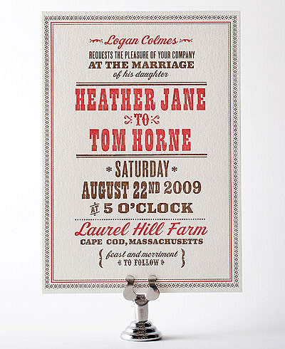 Heartland Letterpress Wedding Invitation