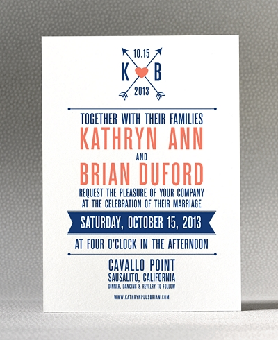 Hearts and Arrows Letterpress Wedding Invitation