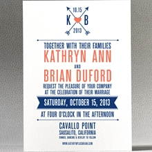 Hearts and Arrows---Letterpress Wedding Invitation