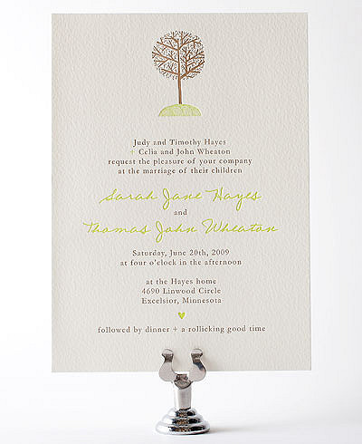 Home Sweet Home Letterpress Wedding Invitation