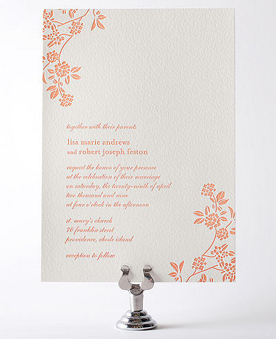 Honeysuckle Letterpress Wedding Invitation