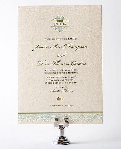 Ironwork Letterpress Wedding Invitation