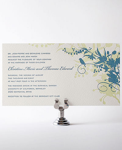 L'Oiseau Letterpress Wedding Invitation