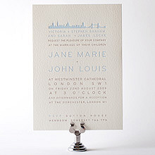 London Skyline---Letterpress Wedding Invitation