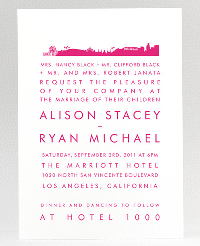 Los Angeles Skyline Wedding Invitation
