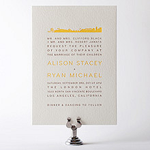 Los Angeles Skyline: Letterpress Wedding Invitation