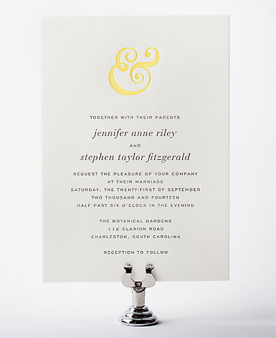 Ampersand Letterpress Wedding Invitation
