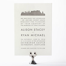 Edinburgh Skyline: Letterpress Wedding Invitation