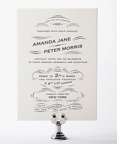 Flourish Letterpress Wedding Invitation