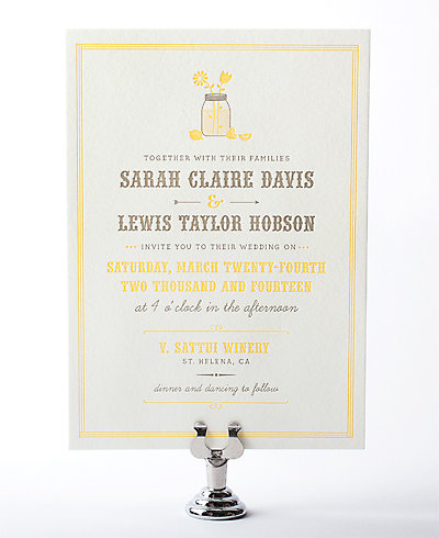 Lemonade Stand Letterpress Wedding Invitation