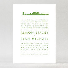 New Orleans Skyline: Letterpress Wedding Invitation