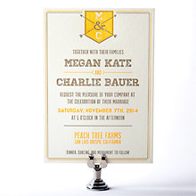 Shields and Arrows: Letterpress Wedding Invitation