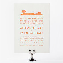 Wine Country Skyline: Letterpress Wedding Invitation