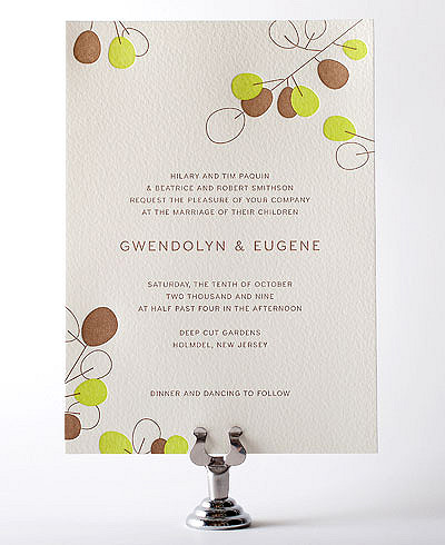Lunaria Letterpress Wedding Invitation