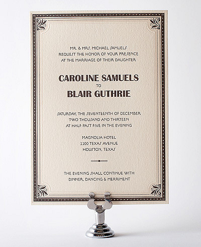 Marquee Letterpress Wedding Invitation