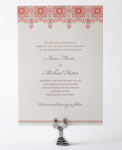 Marrakesh Letterpress Wedding Invitation
