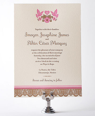 Mi Amor Letterpress Wedding Invitation