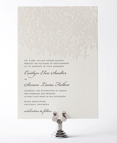 Midsummer Letterpress Wedding Invitation