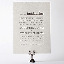 New York City Skyline: Letterpress Wedding Invitation