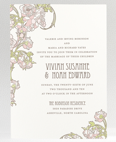Nouveau Peonies Letterpress Wedding Invitation