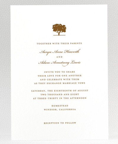 Oak Wedding Invitation