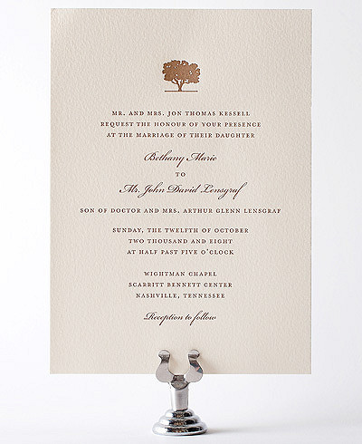 Oak Letterpress Wedding Invitation