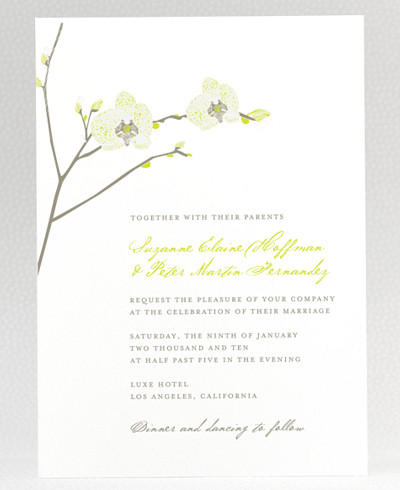 Orchid Letterpress Wedding Invitation