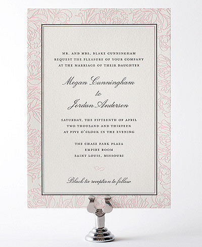 Peonies Letterpress Wedding Invitation