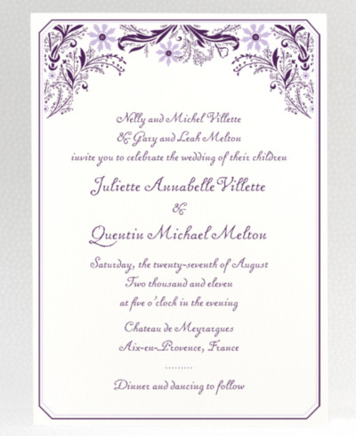 Provence Letterpress Wedding Invitation