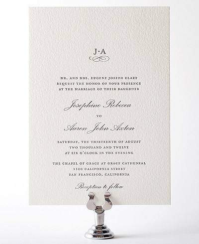 Ritz Letterpress Wedding Invitation
