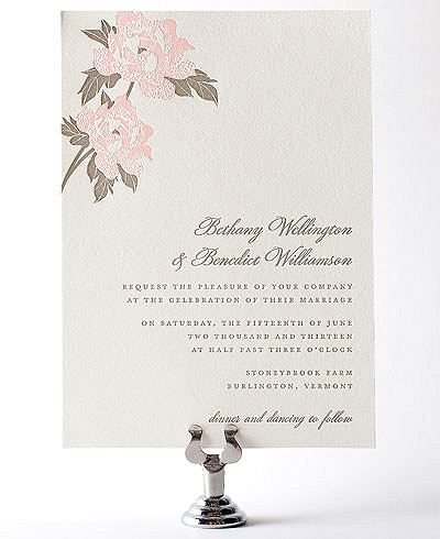 Romantic Garden Letterpress Wedding Invitation