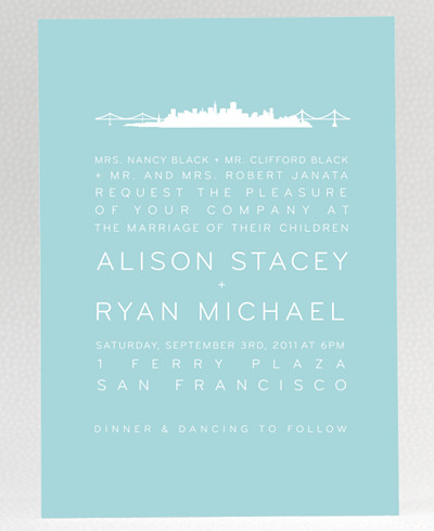 San Francisco Skyline Wedding Invitation
