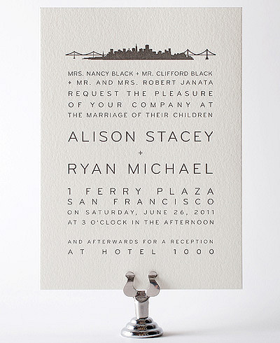 San Francisco Skyline Letterpress Wedding Invitation