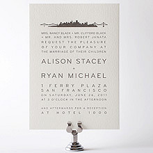 San Francisco Skyline---Letterpress Wedding Invitation