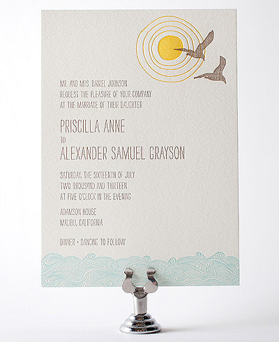 Seagulls Letterpress Wedding Invitation