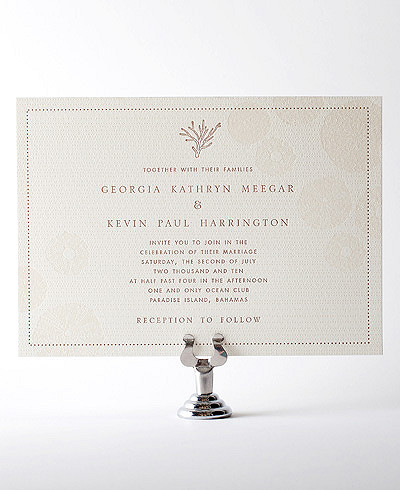 Seashore Letterpress Wedding Invitation