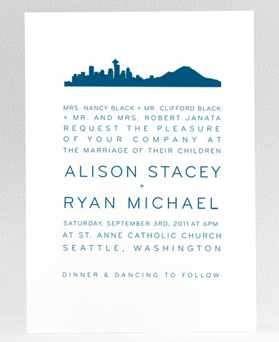 Seattle Skyline Wedding Invitation