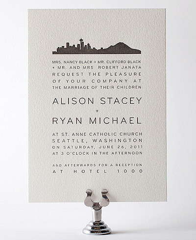 Seattle Skyline Letterpress Wedding Invitation