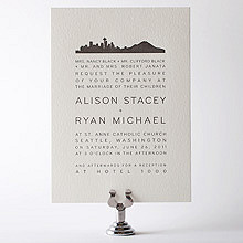 Seattle Skyline---Letterpress Wedding Invitation