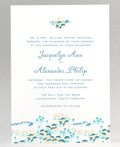 Secret Garden Letterpress Wedding Invitation