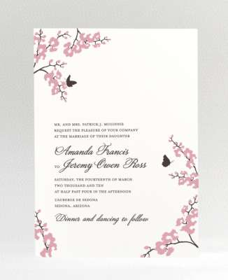 spring butterfly cherry blossom wedding invitation